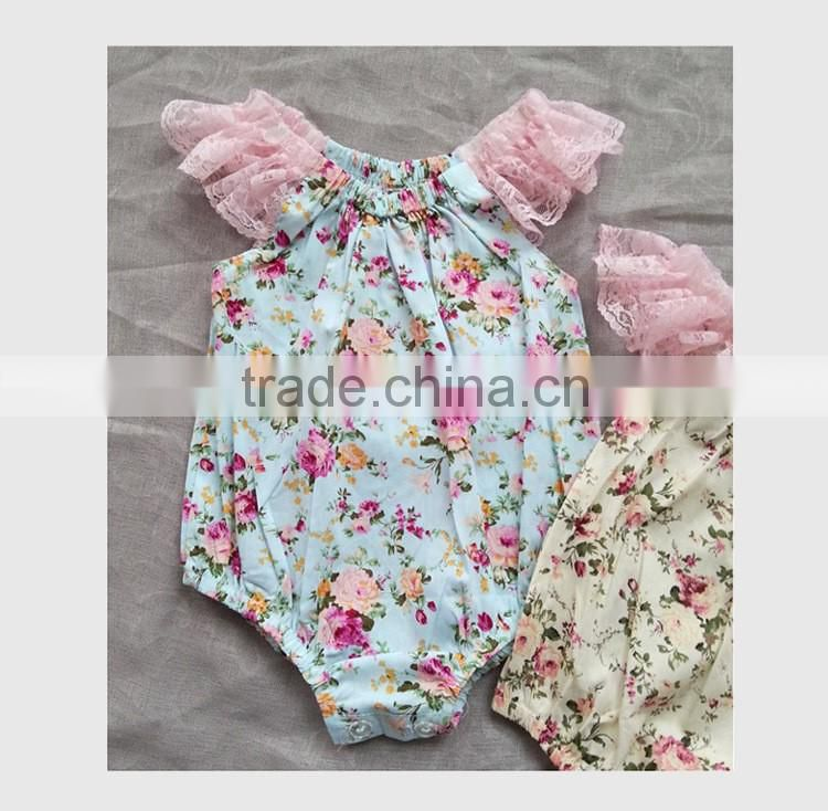ins hot selling children clothing baby girl floral rompers infant toddlers broken flower jumpsuits baby summer lace bodysuts