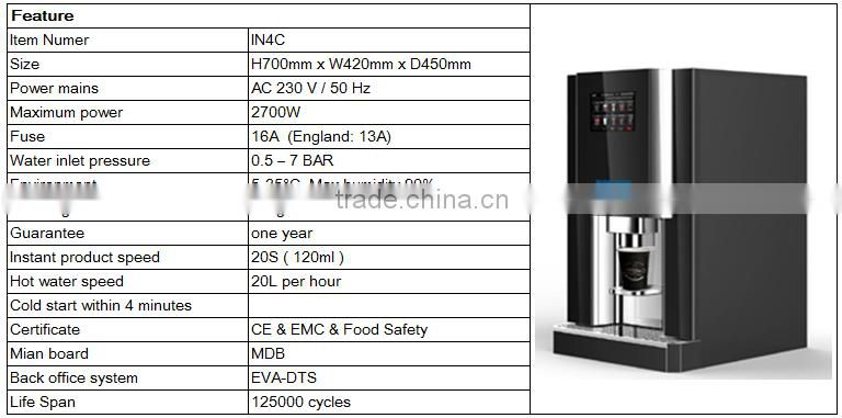 IN4C table top commercial OCS fully automatic instant coffee machine