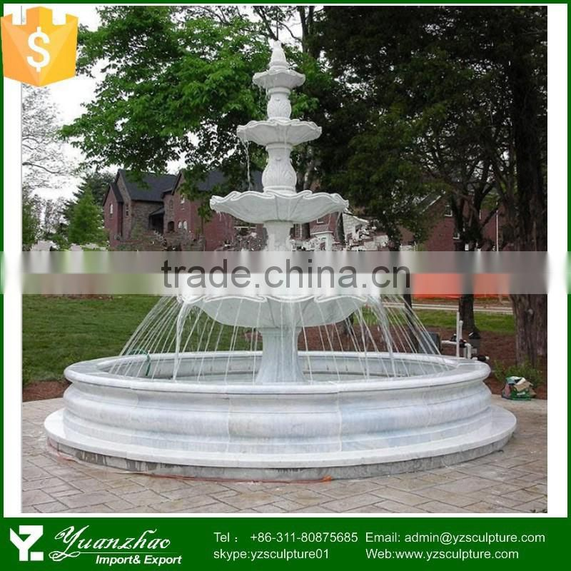 garden white marble 4 tier drinking water fountain for sale