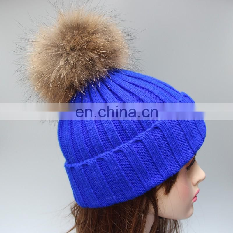 Jumbo genuine raccoon fur bobble knitted winter hats for girl lady 2016