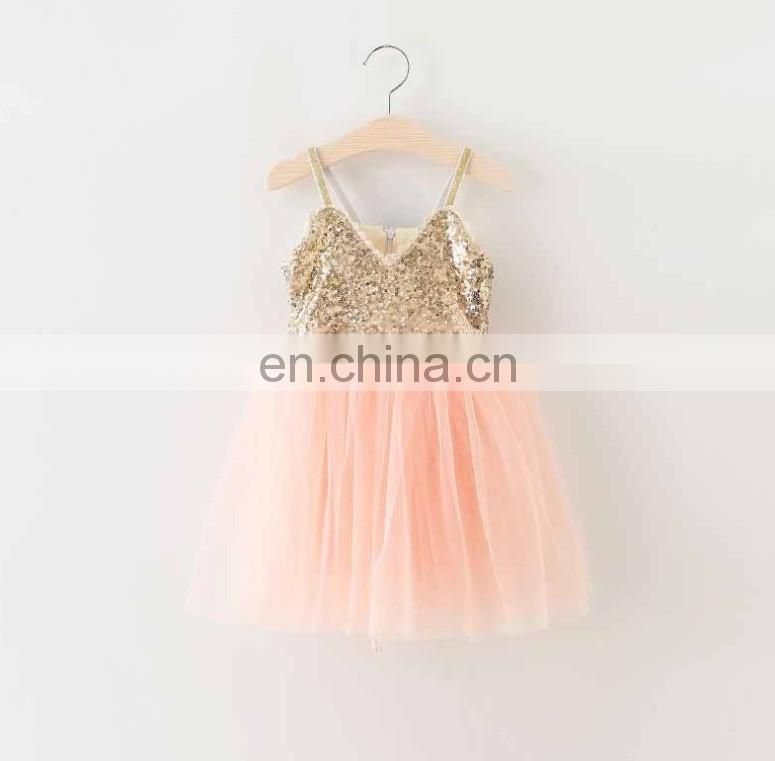Gold Sequin Flower Girl Dress Blush Rustic Slip Tulle Dress Birthday Wear Peach Pageant Outfit