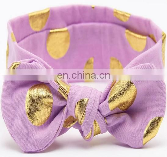 Gold Polka Dot Baby Twisted Headband Toddler Elastic Headband For Baby Shower Hairband