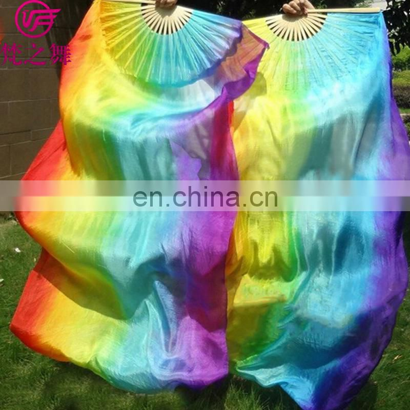 P-9077 2016 performance 100% real silk multy colors 1.2/1.5/1.8m long belly dance fan veil
