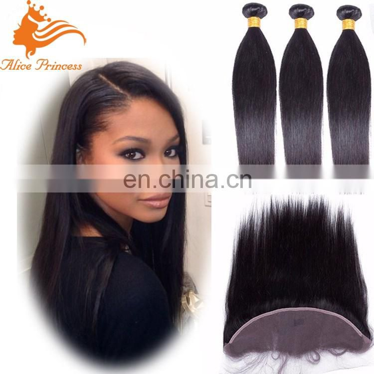 Fashion Style Hot Sale 7A Grade 100% Vrigin Human Hair Frontal Lace Closure With Bundles