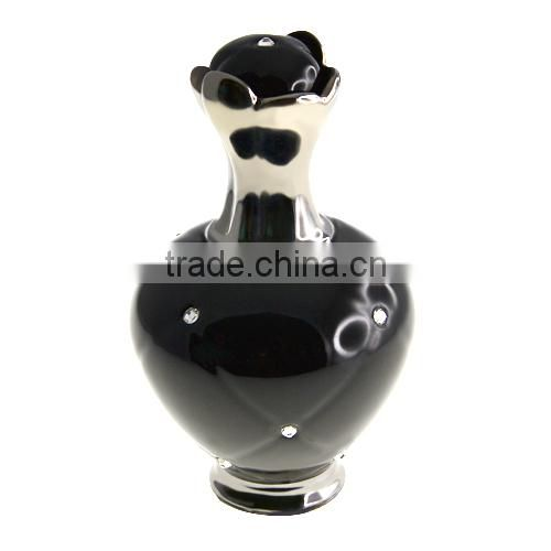 China Manufacturer Porcelain Black Color Elegant Vase With Swarovski Crystal V1043-CM06-0593