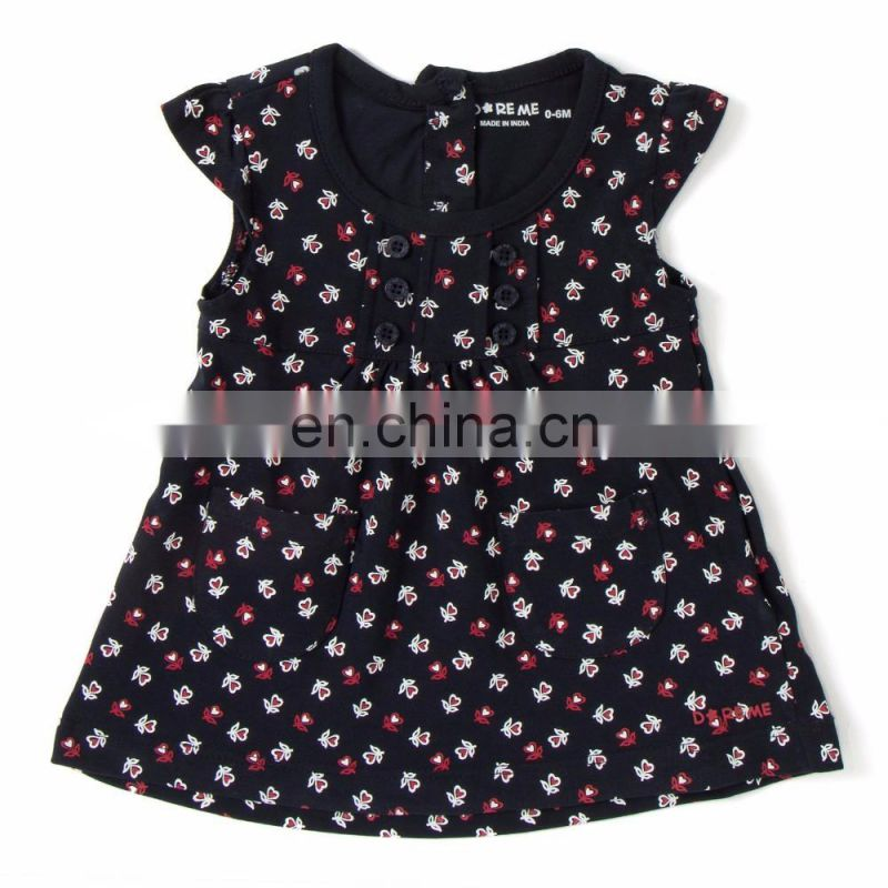 Navy Multi Floral Printed Frock For Kids
