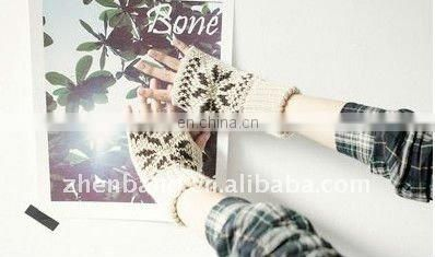 Knitted Winter Gloves With Rivets and Silver Threads