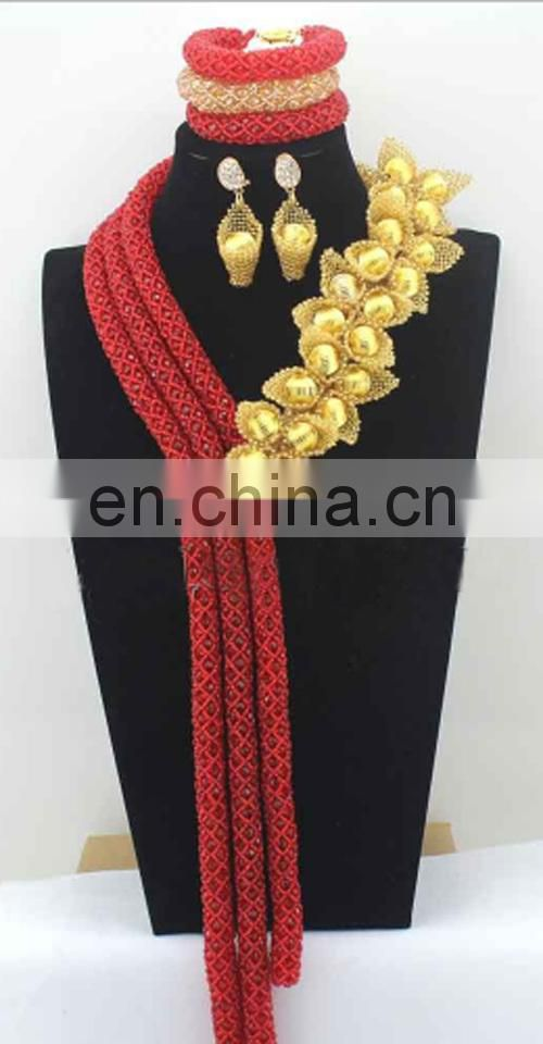 Customized coral bead jewelry setHandmade jewelry set for wedding and partyNigeria fashion necklace for lady