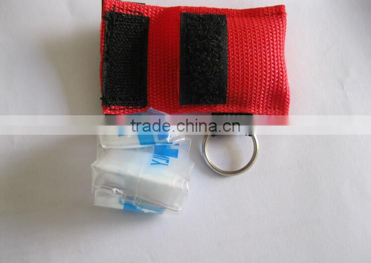 Medical products cpr face shield keychain with one-way valve