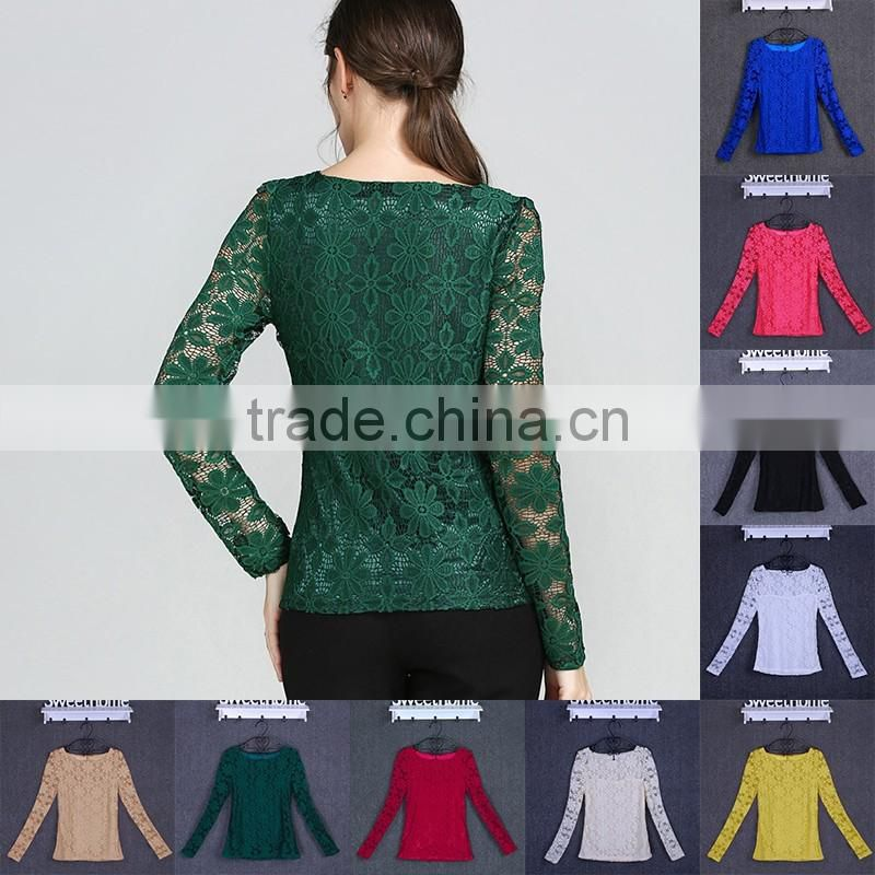 New sexy Women Round Neck Long Sleeve Floral Lace Crochet Embroidery Lace T Shirt Summer Loose Tops Blouse 8COLORS