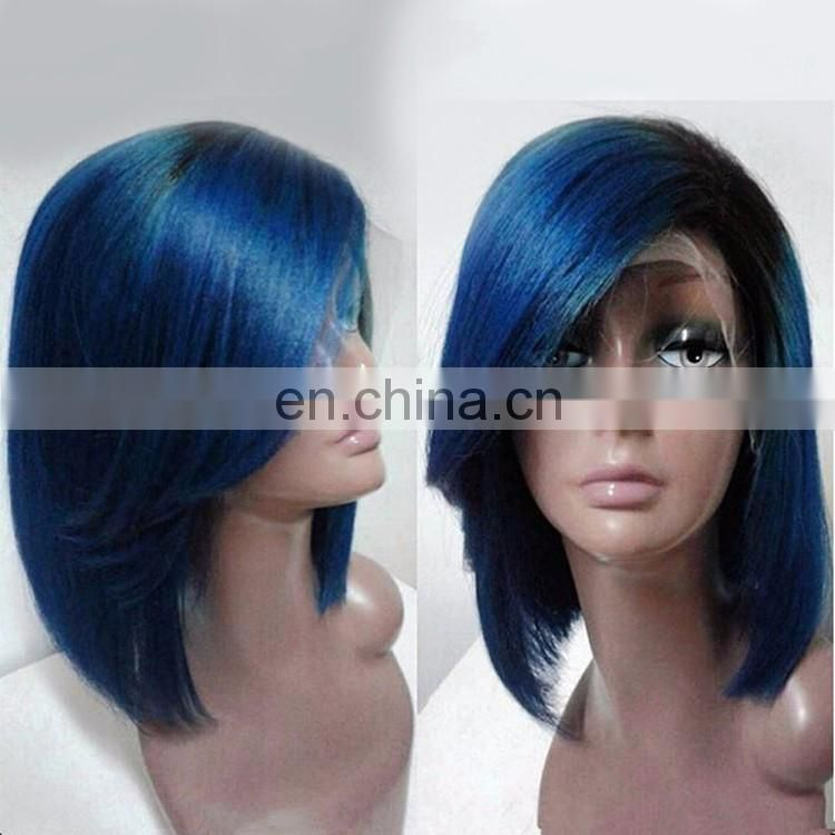 8A Grade Full Lace Glue Human Hair Wig Brazilian Remy With Baby Hair Silky Stragiht Bob Style Short Blue Wig