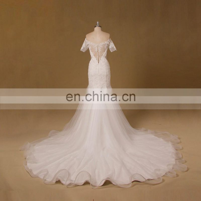Graceful Off Shoulder Sheer Back Mermaid Lace Beaded Wedding Dress Real Sample