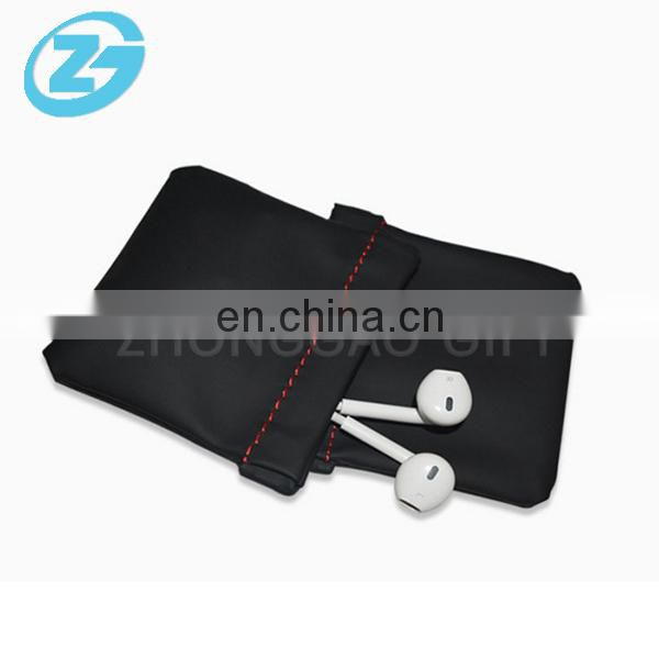 Custom Small or Big Size Black PU Leather Earphone Headphone Drawstring Pouch Bag