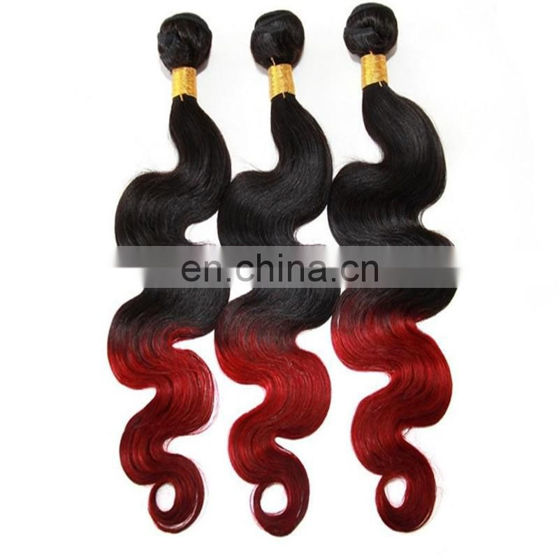 High quality two tone human hair weaving remy indian hair color 1B/red body wave hair extensions