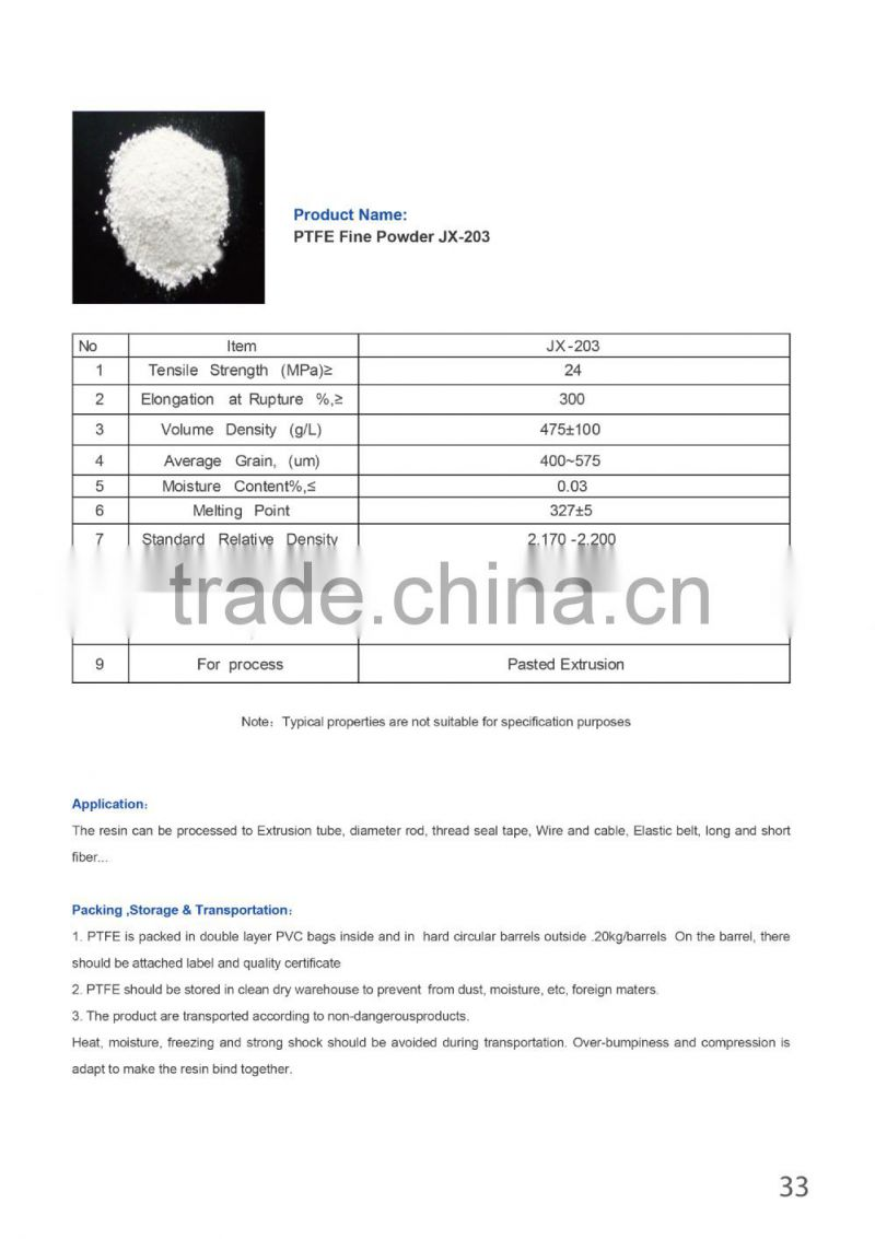 hot sales PTFE fine powder JX-203 for tube, rod, thread seal tape, Wire and cable, Elastic belt, long and short fiber