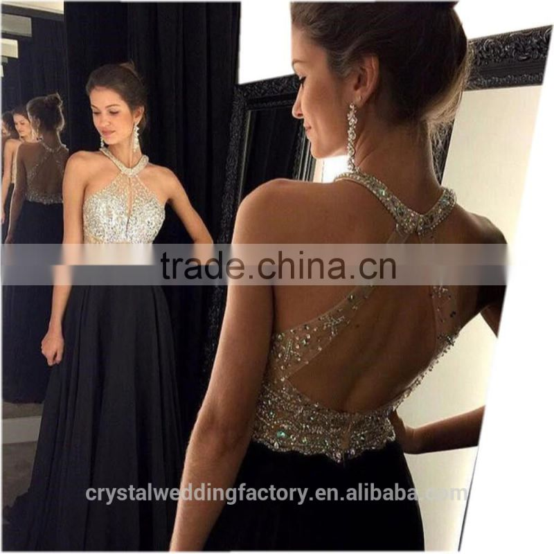 Sexy A-Line Black Prom Dress 2016 Long Halter Beaded Backless vestidos de fiesta Formal Evening Gown Party Pageant Dresses LP08 Image