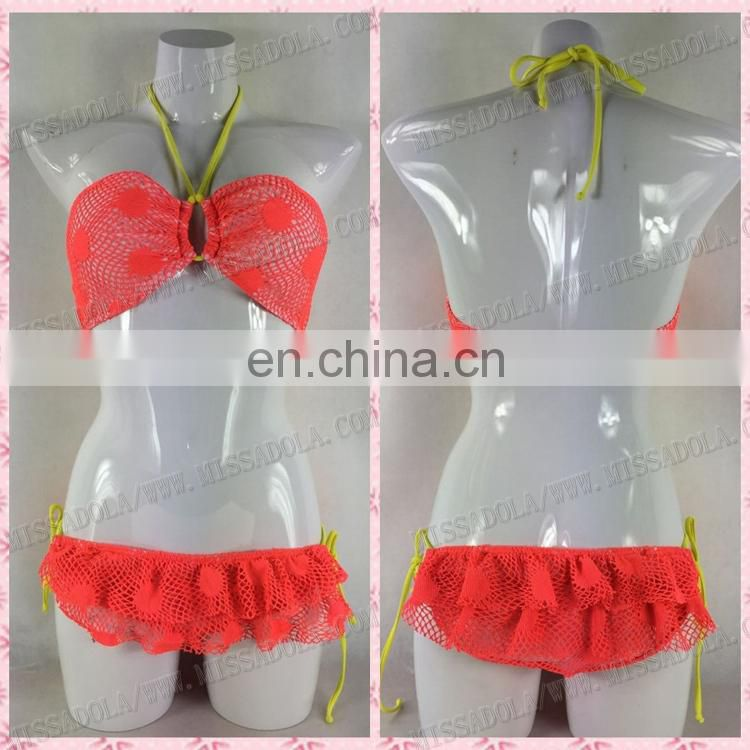 Miss Adola low V two pieces sling orange mesh bikini swimsuit gilrs sexy lady swimwear (YDAD71)