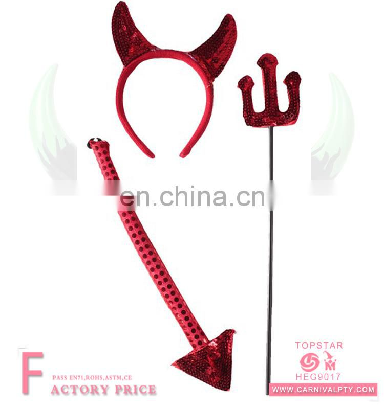 Red squine satin material making hair accessories red ox horn headband with sequine tail