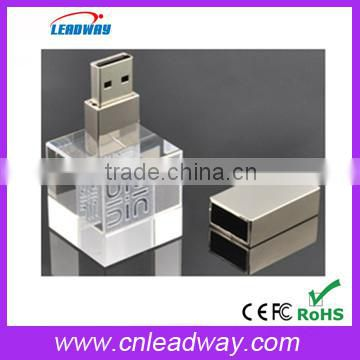 unique usb flash drives any shape of crystal usb 3D logo engraved in