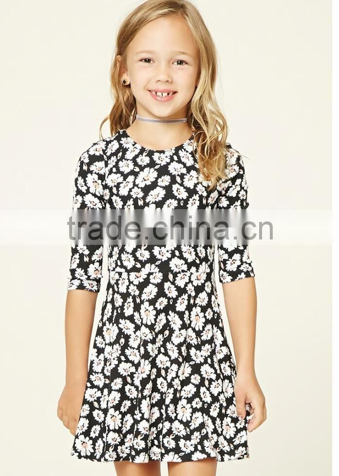 ... Online Shopping Kids Dress Girls Ribbed Knit Skater Wear Round Neckline  3 4 Sleeve Fancy fb4a89813