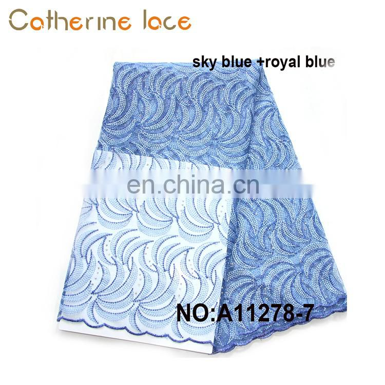 Catherine China Manufacturers Wholesale Dress Fabric Royal Blue French Lace