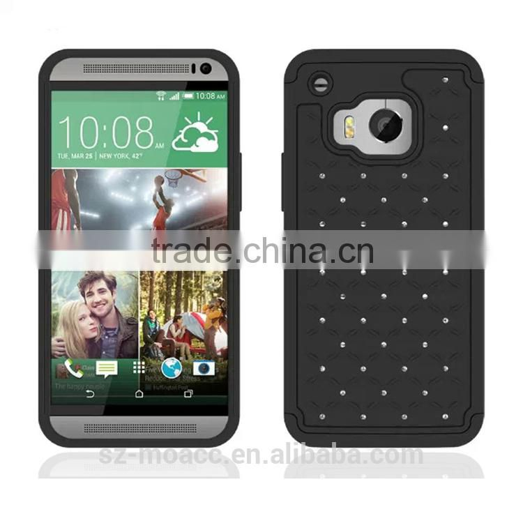 3 in 1 pc silicone Hybrid Bling Diamond case for htc one m9