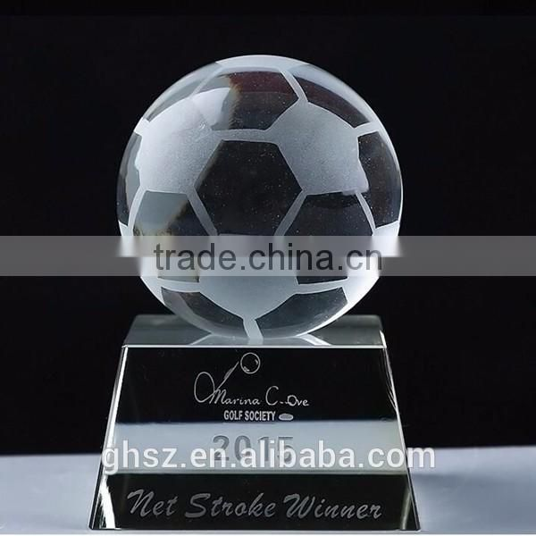 Custom awards souvenir gift sports trophy crystal football trophy