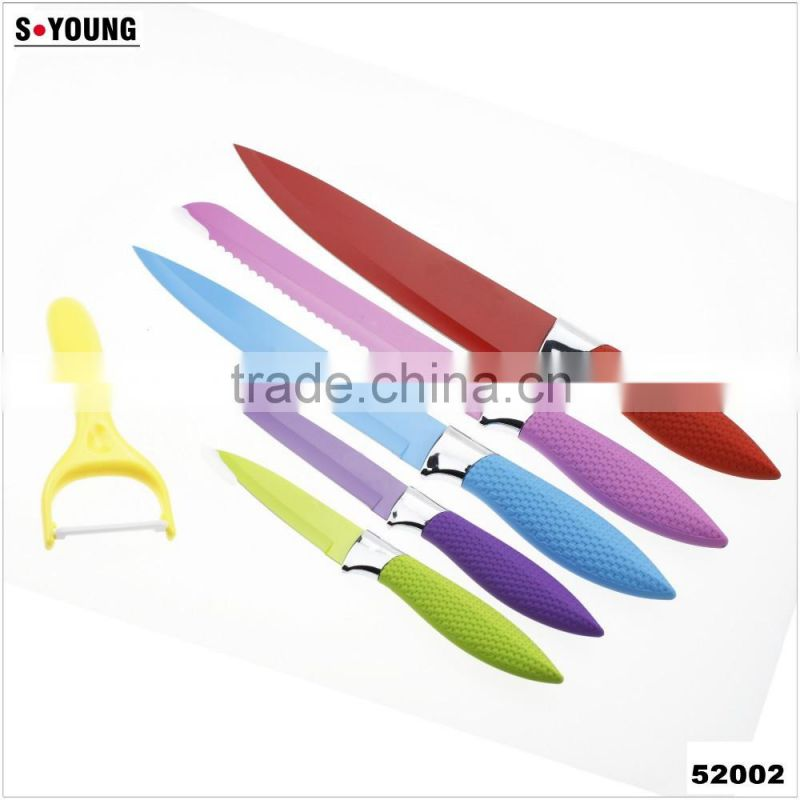52002 6pcs non-stick knife with pphandle