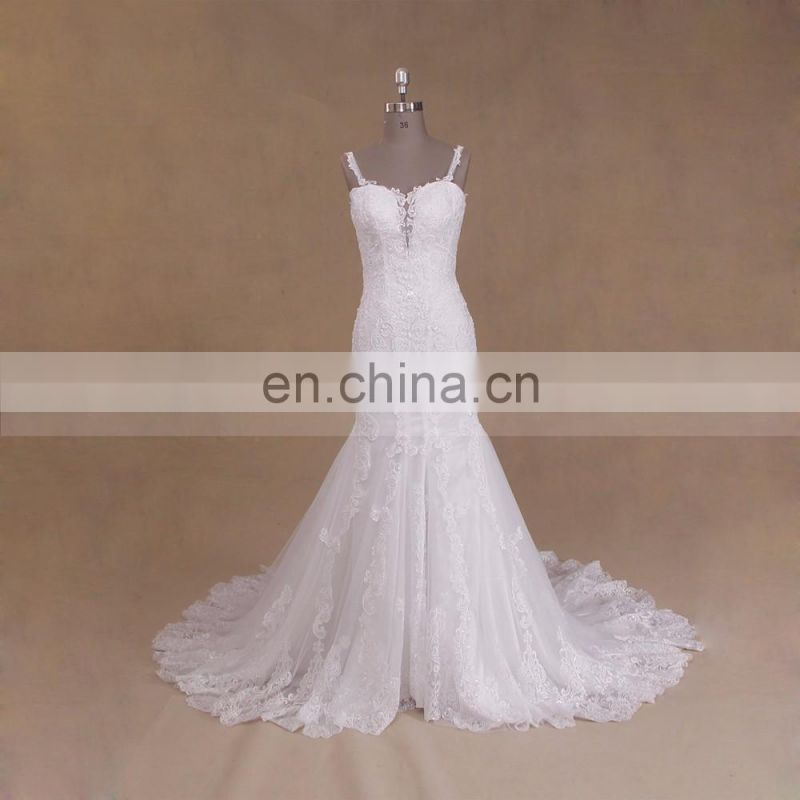 High Quality Bling Sleeveless Long Train White Lace For Wedding Dress Mermaid