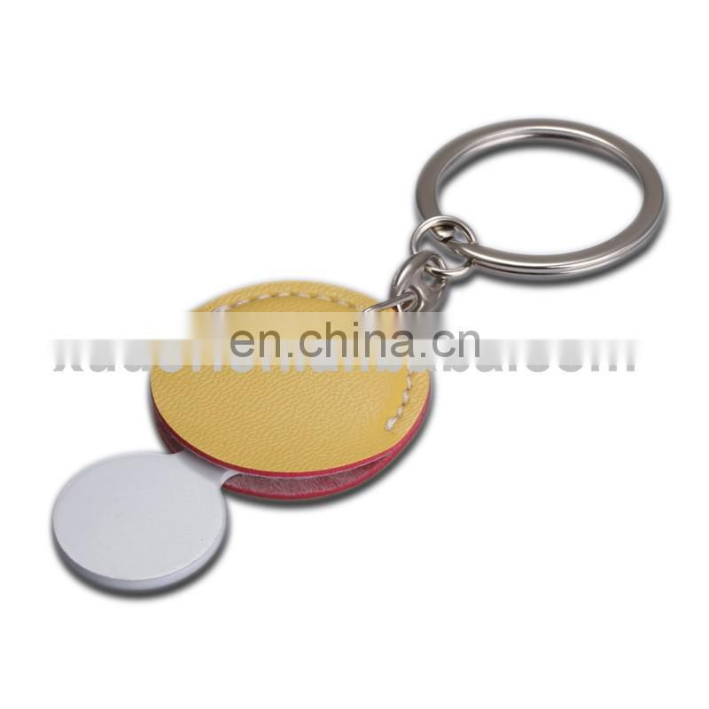 Round metal logo yellow leather keychains