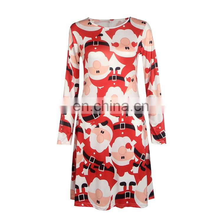 Christmas Evening Party Dress Long Sleeve Red Fashion Mini Christmas Dress