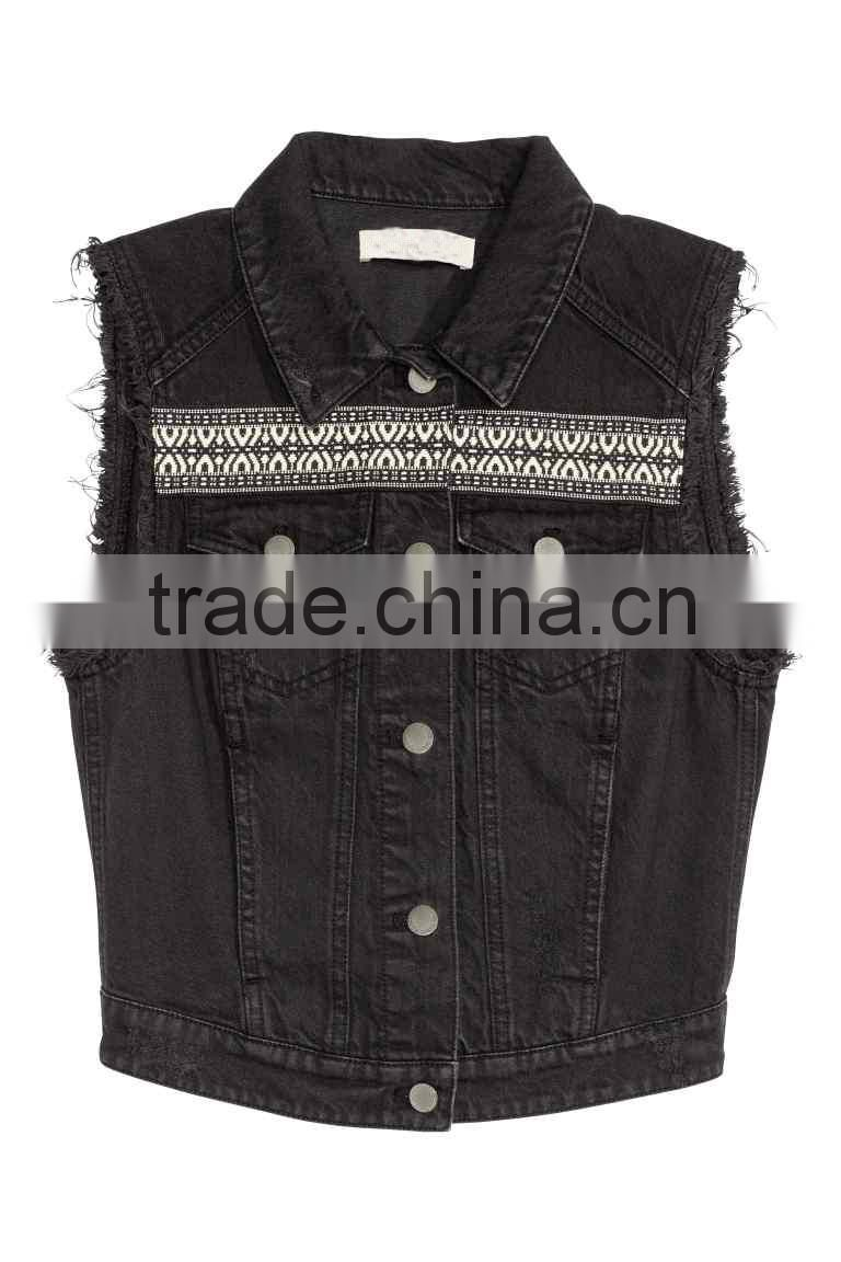 New Product Lady Apparel Sleeveless Embroidery Jacket Summer Denim Jacket For Women In Black