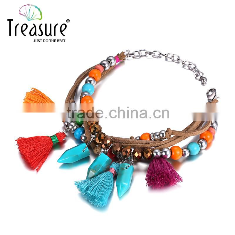 Fashion jewelry vintage ethnic colorful tassel bead rope woven bracelet Valentine's Day bracelet Image