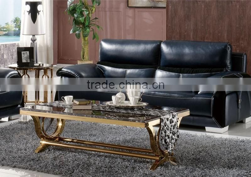 royal golden stainless steel coffee center table set with marble top ...