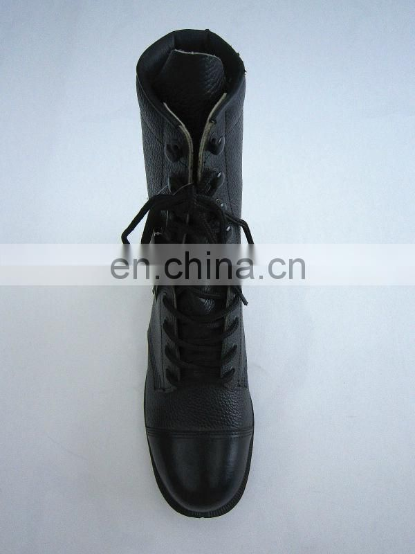 black leather safety military boots