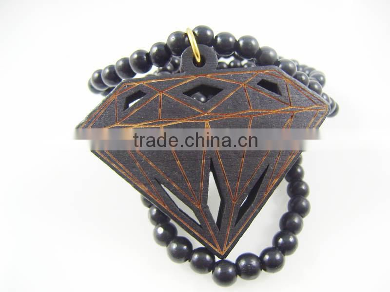 Good quality Hip-hop diamond Pendant wood Ball Bead Chain Necklaces