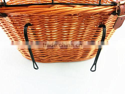 Rustic dog wicker basket for bicycle with adjustable strap