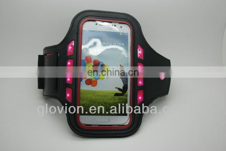 Cheap waterproof glowing armband led running armband flashing mobile phone armband