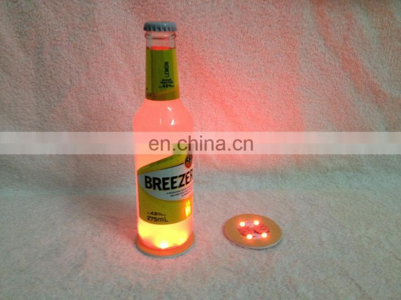 Hot Sale Crazy Party Bottle Led Sticker Coaster for beer/vodka wine bottle