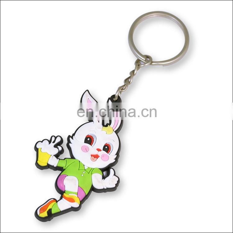 Custom PVC rubber cute cartoon rabbit keychains for sale