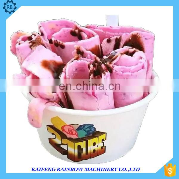 Summer snacks Fried Ice Cream Roll Making Machine / Fry Ice Pan Machine Fried Yogurt With Fruit Or Fried Ice