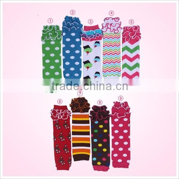 Fashion knit cotton leg warmers with flower pattern wholesale baby leg warmers