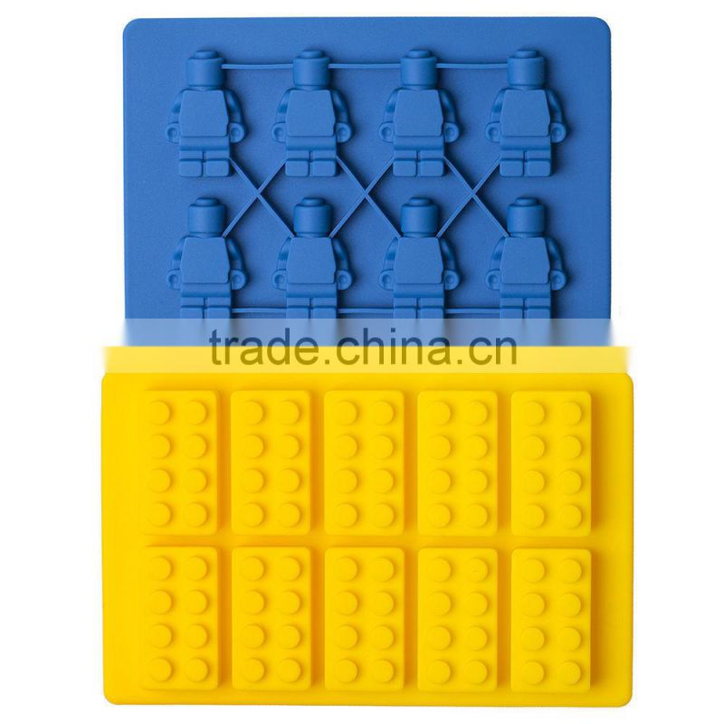 Wholesale various color FDA approved food grade non stick 8 cavities lego bricks ice mold silicone ice cube tray