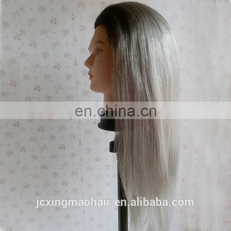Grade 9a #1B/Gray Ombre Color Human Hair Lace Front Wig for Black Women