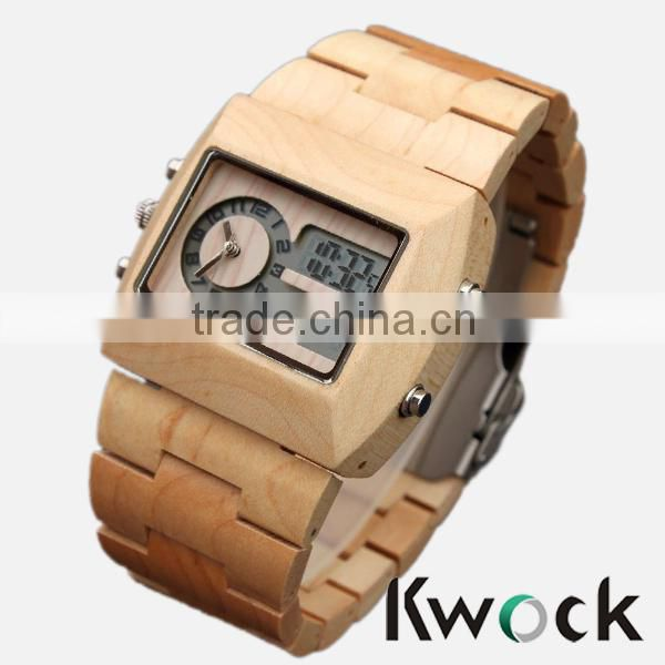 Cheap price wood combined with digital new style mens wrist watch