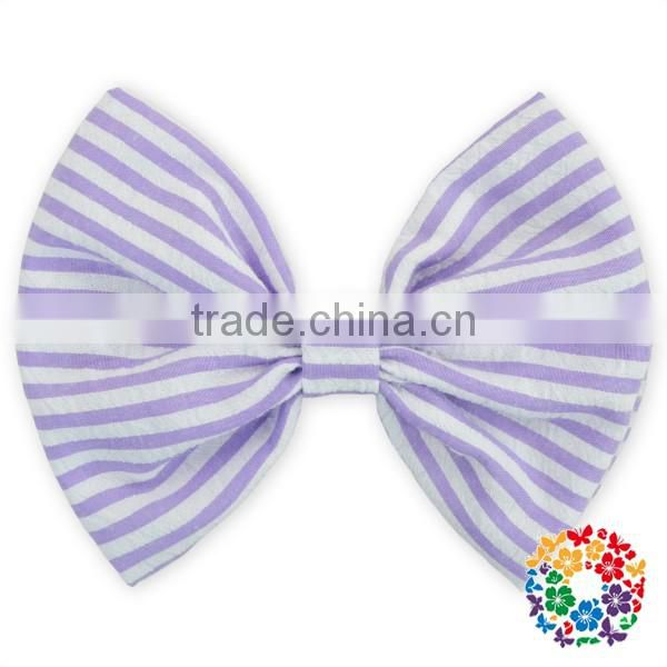 "5"" x 4.5 "" 100% cotton seersucker hair bow Sewn grosgrain boutique hair bow for girls"