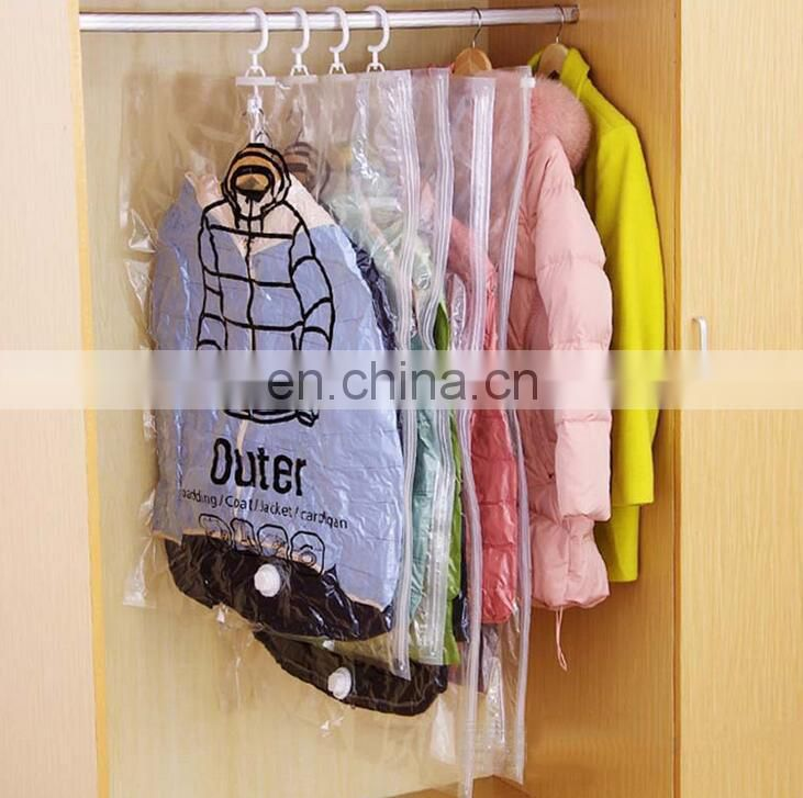 Hanging vacuum storage bag space bag