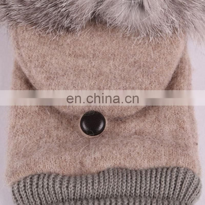 High quality wool half finger glove lady winter clamshell gloves for women