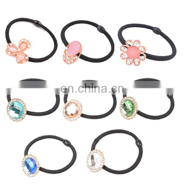 2015 Newest Wholesale girls rhinestone flower hair rubber band