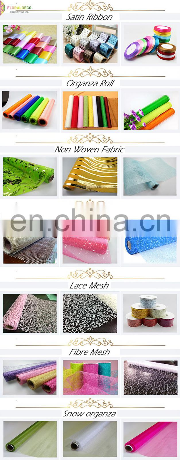 Hot selling flower wrapping organza fabric roll for chair sash